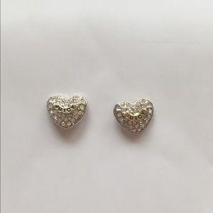 silver plate heart earrings